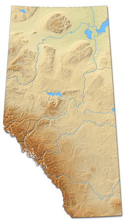 Relief map of Alberta, a province of Canada, with shaded relief.
