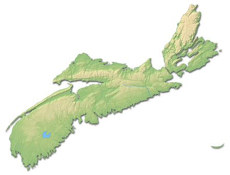Relief map of Nova Scotia, a province of Canada, with shaded relief.