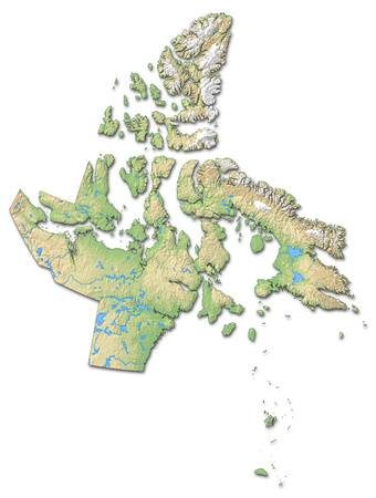 Relief map of Nunavut, a province of Canada, with shaded relief.