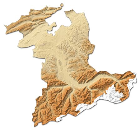 Relief map of Bern, a province of Swizerland, with shaded relief.