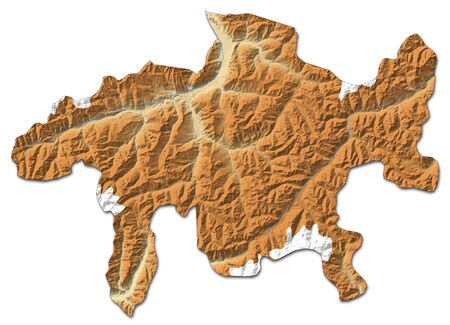 Relief map of Graubuenden, a province of Swizerland, with shaded relief.