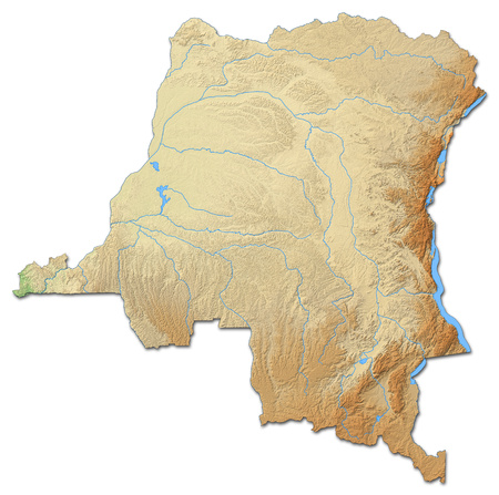 Relief map of Democratic Republic of the Congo with shaded relief.
