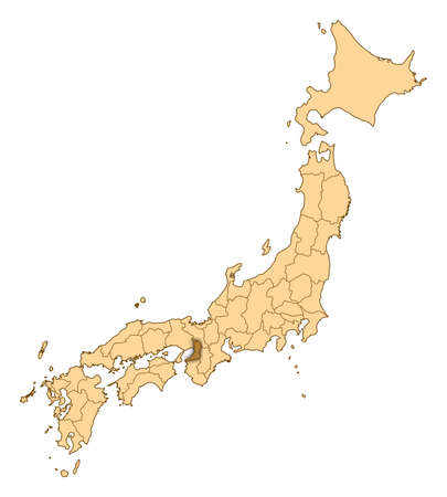 Map of Japan with the provinces, Osaka is highlighted.