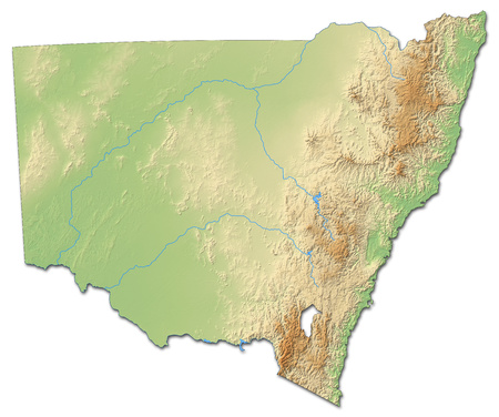 Relief map of New South Wales, a province of Australia, with shaded relief. Stock Photo