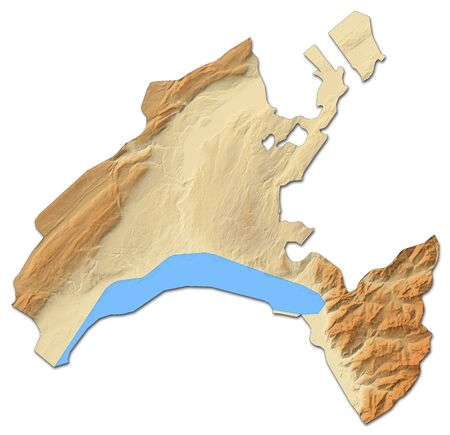Relief map of Vaud, a province of Swizerland, with shaded relief. Stock Photo