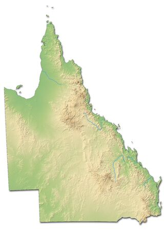 Relief map of Queensland, a province of Australia, with shaded relief.