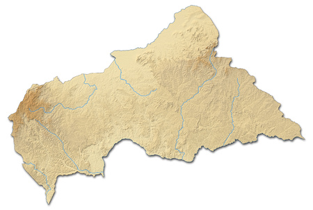 shaded: Relief map of Central African Republic with shaded relief.
