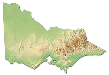 Relief map of Victoria, a province of Australia, with shaded relief.
