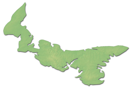 Relief map of Prince Edward Island, a province of Canada, with shaded relief. Stock Photo