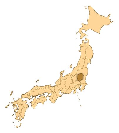 Map of Japan with the provinces, Tochigi is highlighted. Stock Photo