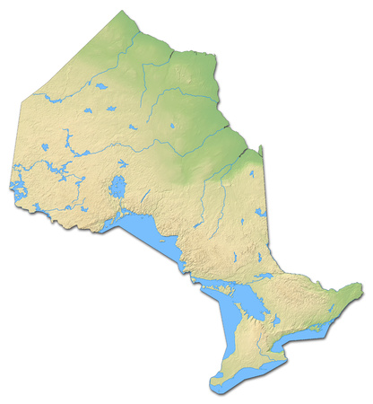 ontario: Relief map of Ontario, a province of Canada, with shaded relief. Stock Photo