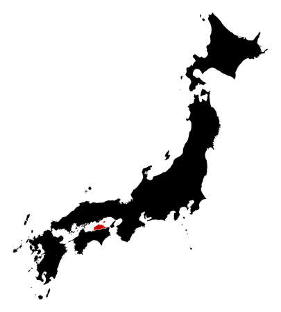 Map of Japan in black, Kagawa is highlighted in red.