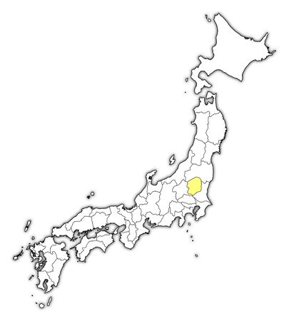 Map of Japan with the provinces, Tochigi is highlighted in yellow. Illustration