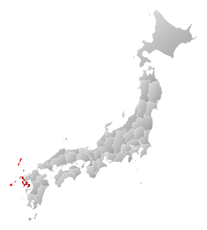 frontiers: Map of Japan with the provinces, filled with a linear gradient, Nagasaki is highlighted.