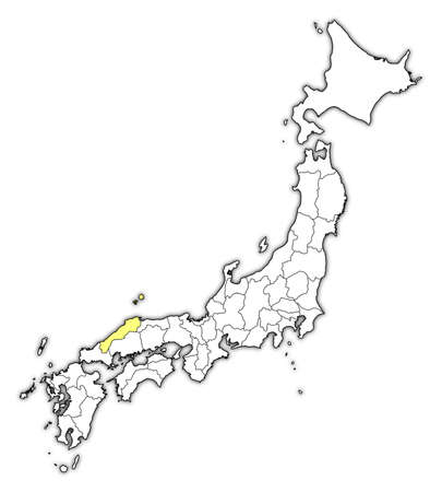 Map of Japan with the provinces, Shimane is highlighted in yellow. Illustration