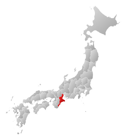 tone shading: Map of Japan with the provinces, filled with a linear gradient, Mie is highlighted.