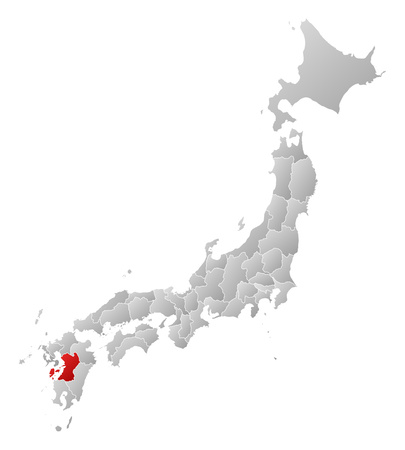 Map of Japan with the provinces, filled with a linear gradient, Kumamoto is highlighted. Illustration
