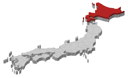 hokkaido: Map of Japan as a gray piece., Hokkaido is highlighted in red.