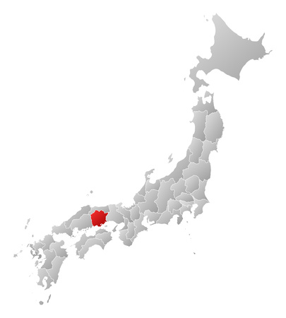 tone shading: Map of Japan with the provinces, filled with a linear gradient, Okayama is highlighted.