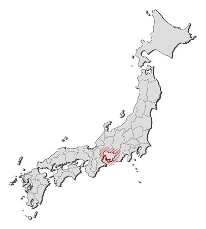 Map of Japan with the provinces, Aichi is highlighted by a hatching.