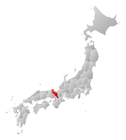 kyoto: Map of Japan with the provinces, filled with a linear gradient, Kyoto is highlighted.