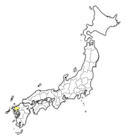 Map of Japan with the provinces, Saga is highlighted in yellow.