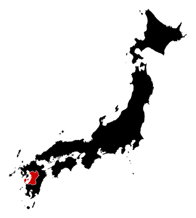 Map of Japan in black, Kumamoto is highlighted in red. Illustration