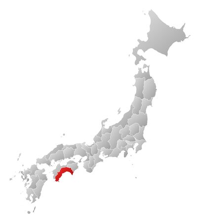 tone shading: Map of Japan with the provinces, filled with a linear gradient, Kochi is highlighted.