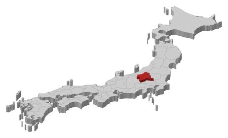 Map of Japan as a gray piece., Gunma is highlighted in red.
