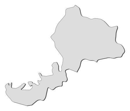 Map of Fukui, a province of Japan. Illustration