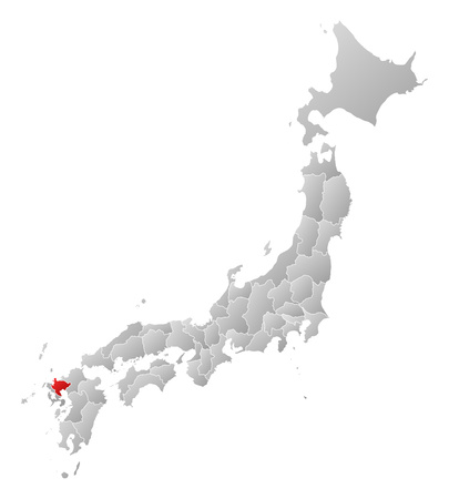 saga: Map of Japan with the provinces, filled with a linear gradient, Saga is highlighted. Illustration