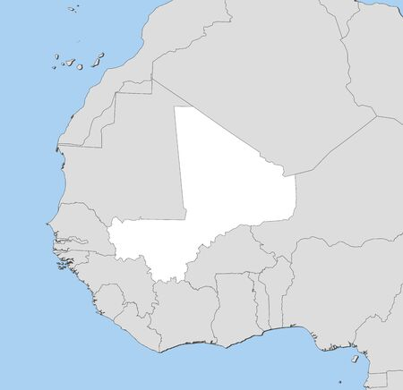 republique: Map of Mali and nearby countries, Mali is highlighted in white. Illustration