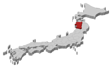 akita: Map of Japan as a gray piece., Akita is highlighted in red.