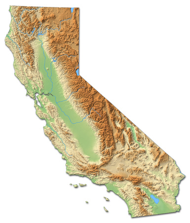 Relief map of California, a province of United States, with shaded relief. Foto de archivo