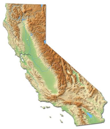 topografia: mapa en relieve de California, una provincia de Estados Unidos, con relieves y sombreados. Foto de archivo