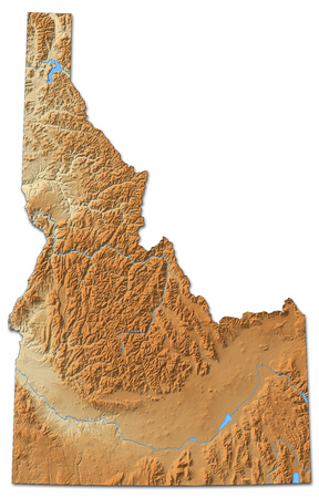 Relief map of Idaho, a province of United States, with shaded relief.