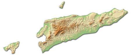 southeastern asia: Relief map of East Timor with shaded relief.