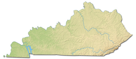 Relief map of Kentucky, a province of United States, with shaded relief.