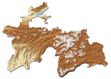 Relief map of Tajikistan with shaded relief. Stock Photo