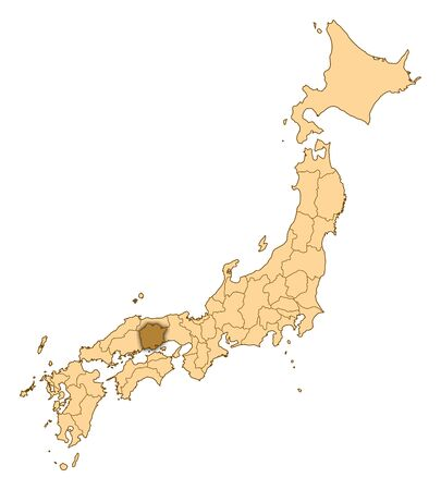 Map of Japan with the provinces, Okayama is highlighted.