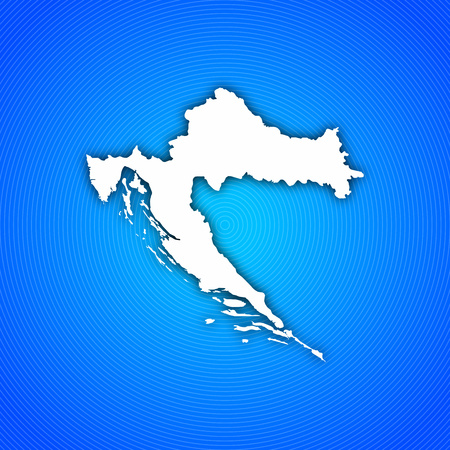 Map of Croatia with circled background in blue. Stock Photo