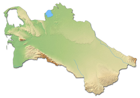 Relief map of Turkmenistan with shaded relief. Stock Photo