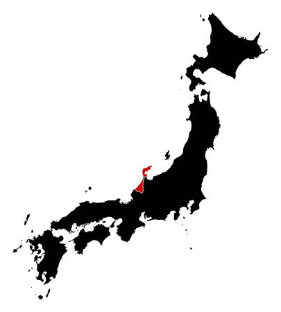 highlighted: Map of Japan in black, Ishikawa is highlighted in red. Illustration