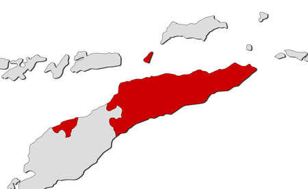 east: Map of East Timor and nearby countries, East Timor is highlighted in red. Illustration
