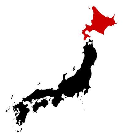 hokkaido: Map of Japan in black, Hokkaido is highlighted in red. Illustration