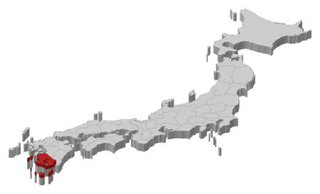 Map of Japan as a gray piece., Kagoshima is highlighted in red.