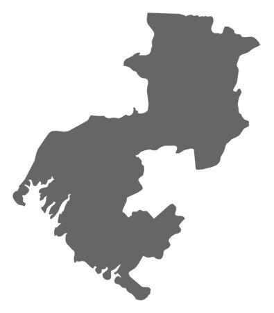 republique: Map of Boke, a province of Guinea. Illustration