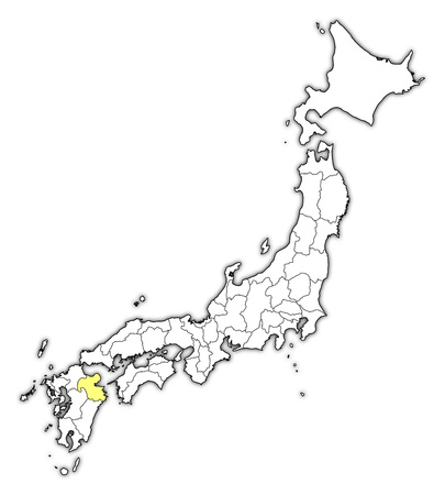 Map of Japan with the provinces, Oita is highlighted in yellow. Illustration
