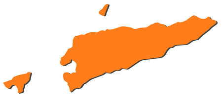 southeastern asia: Map of East Timor, filled in orange.