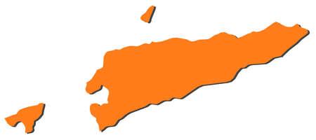 Map of East Timor, filled in orange.